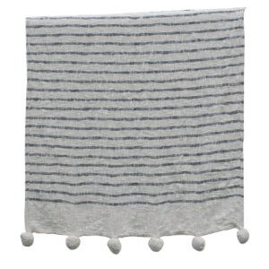 Rutna Pom Pom Throw Grey on White ART018_OUIonline